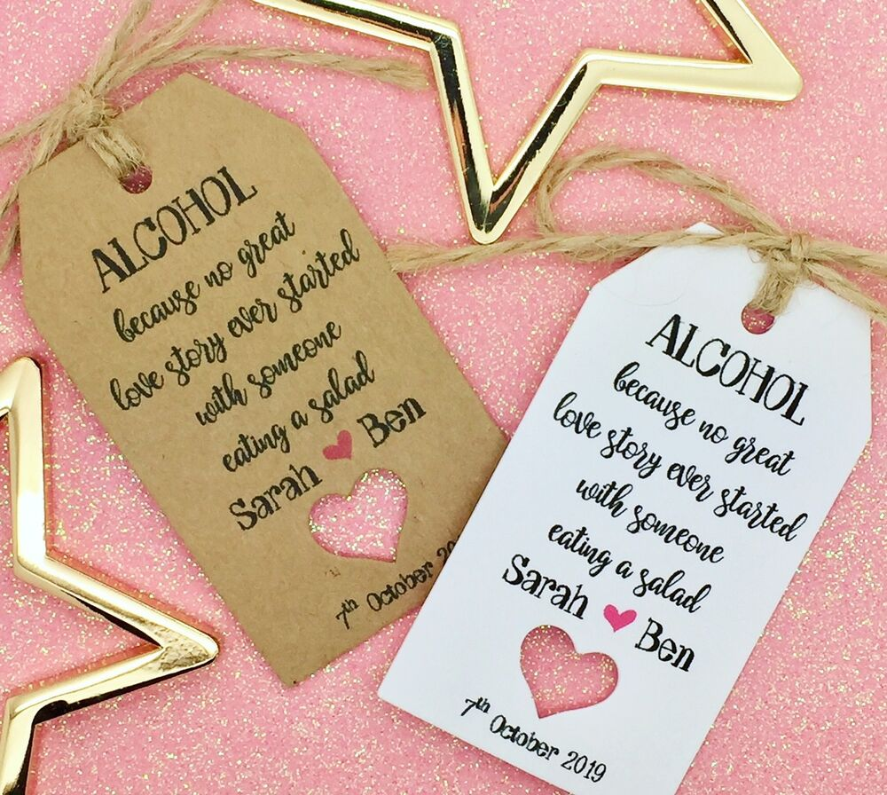 Personalised Wedding Favour Gift Tags Uk : Personalised Wedding ALCOHOL Favour Gift Tags