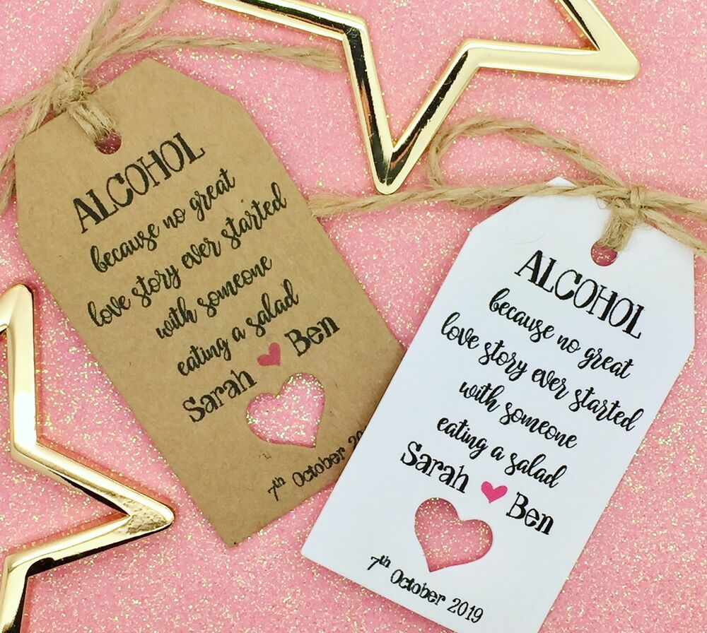 Personalised Wedding ALCOHOL Favour Gift Tags
