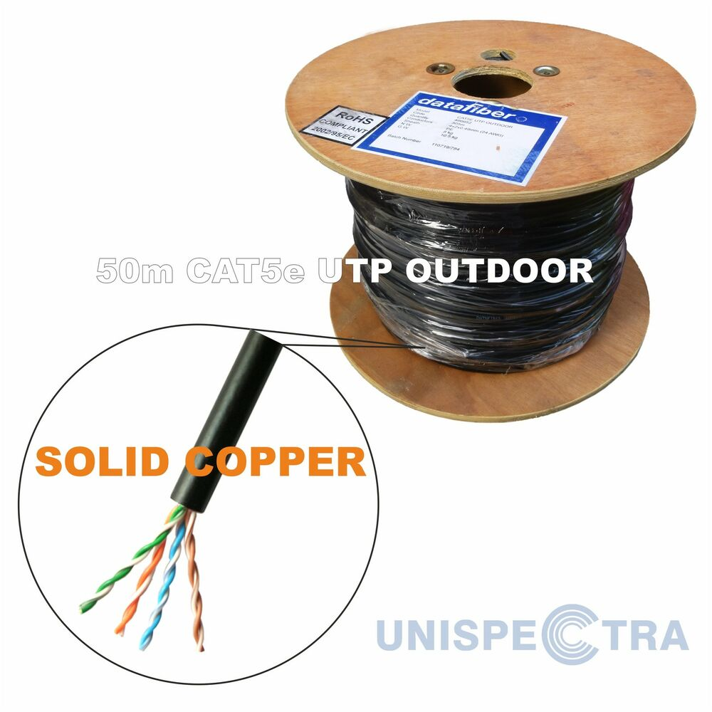 50m Cat5e Outdoor Network Cable External Underground Black Solid Copper Ebay