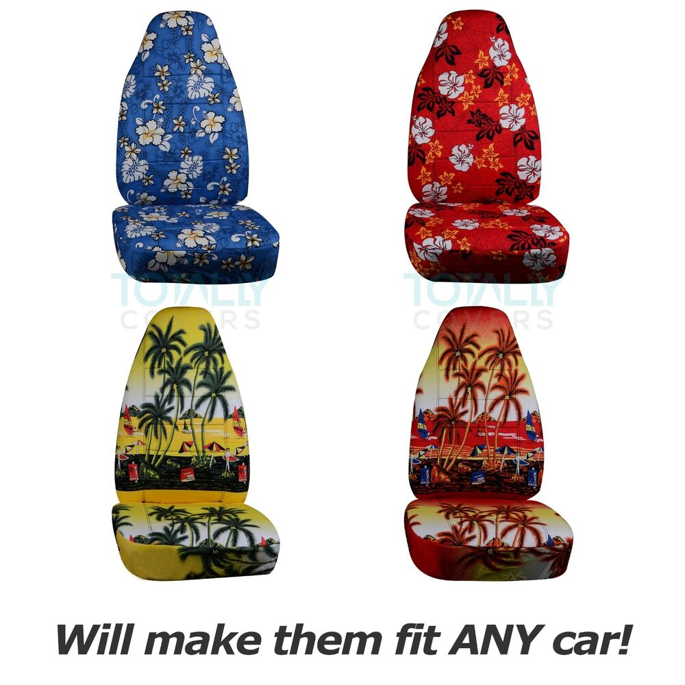 Hawaiian Print Car Seat Covers (Front, Semi-custom) Blue