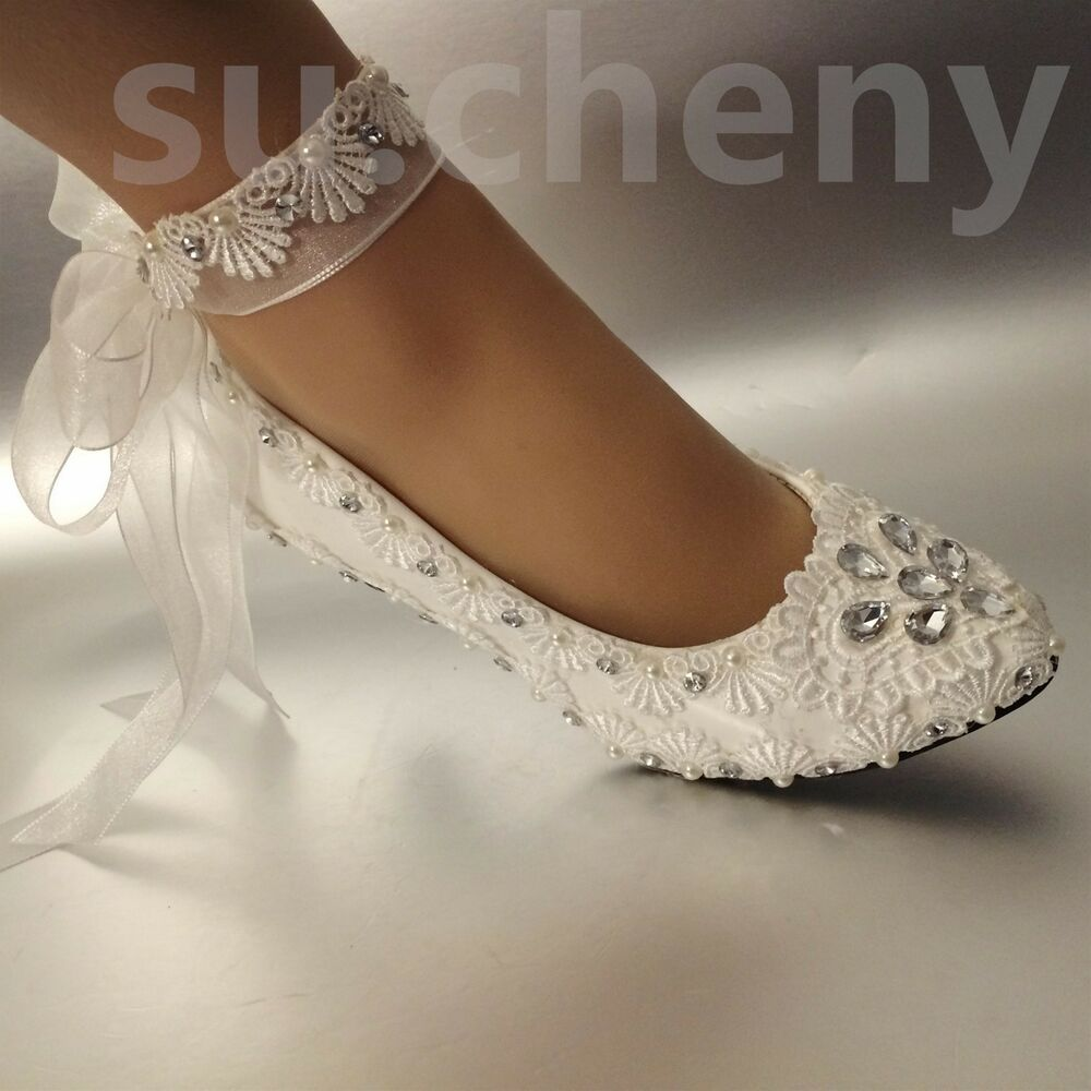 25707f0fa47a Details about su.cheny Low heel White pearl flat lace satin Wedding Bridal  shoes