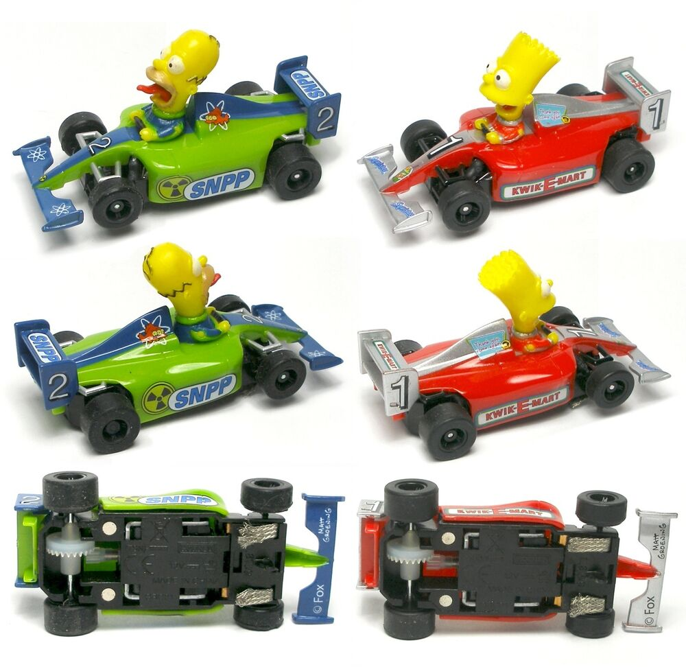 Bart amp homer simpson indy f1 ho slot car simpsons new pair ebay