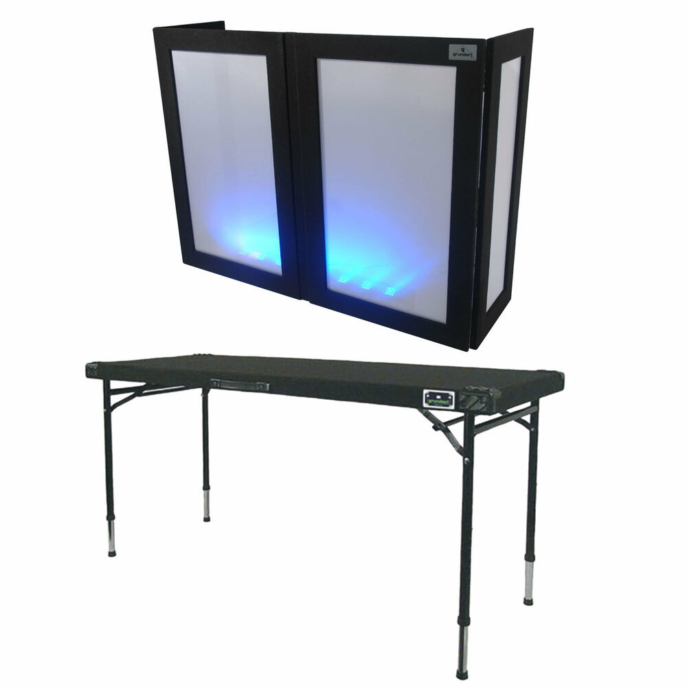 grundorf led facade carpeted dj table w adjustable legs ebay. Black Bedroom Furniture Sets. Home Design Ideas