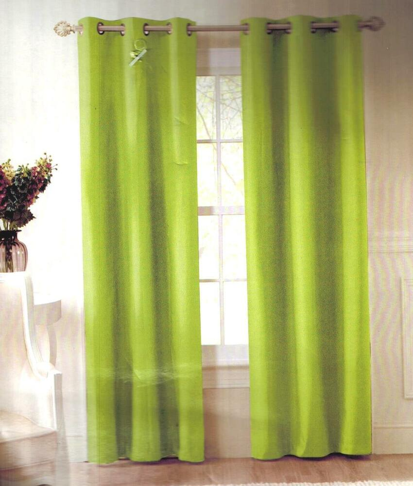 lime green solid grommet lined blackout window curtain microfiber