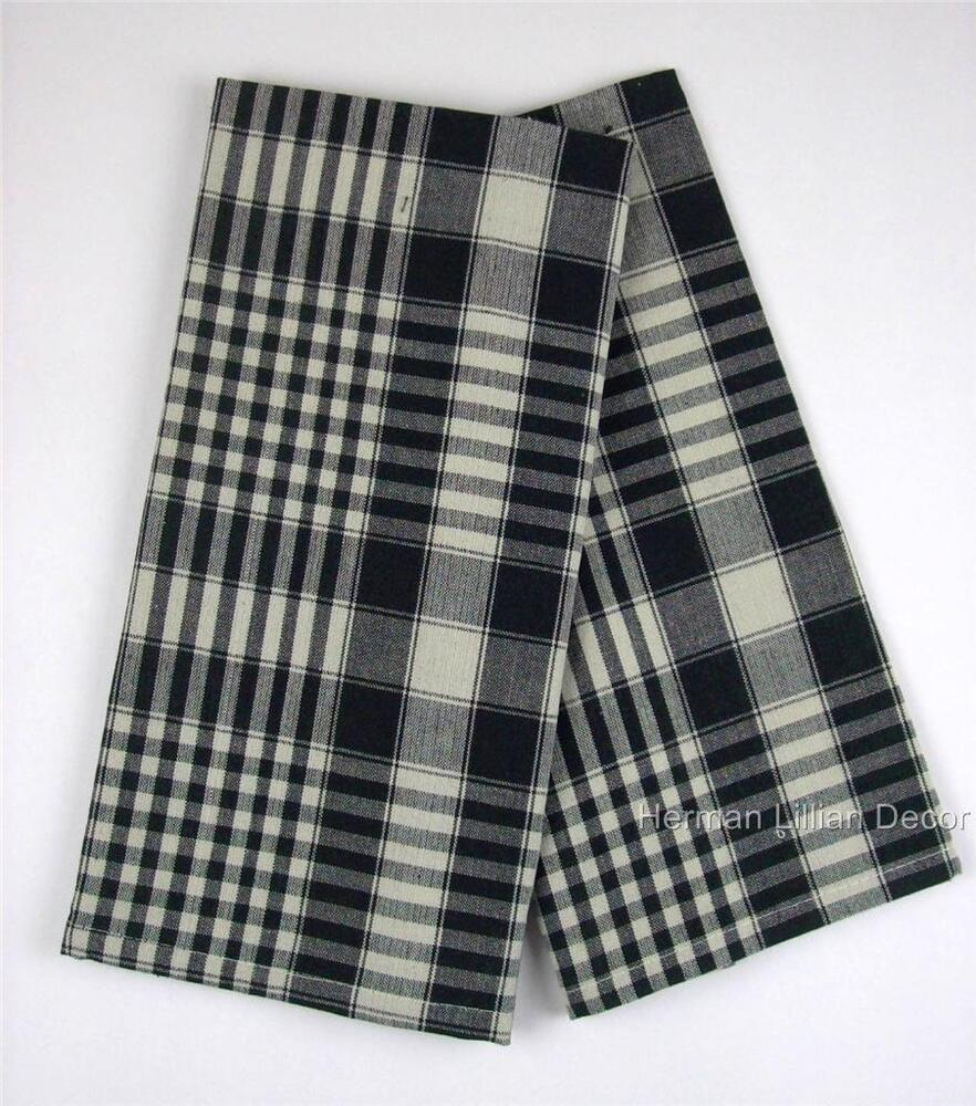 Richmond Black And Cream Plaid Cotton Dish Towels Set Of 2