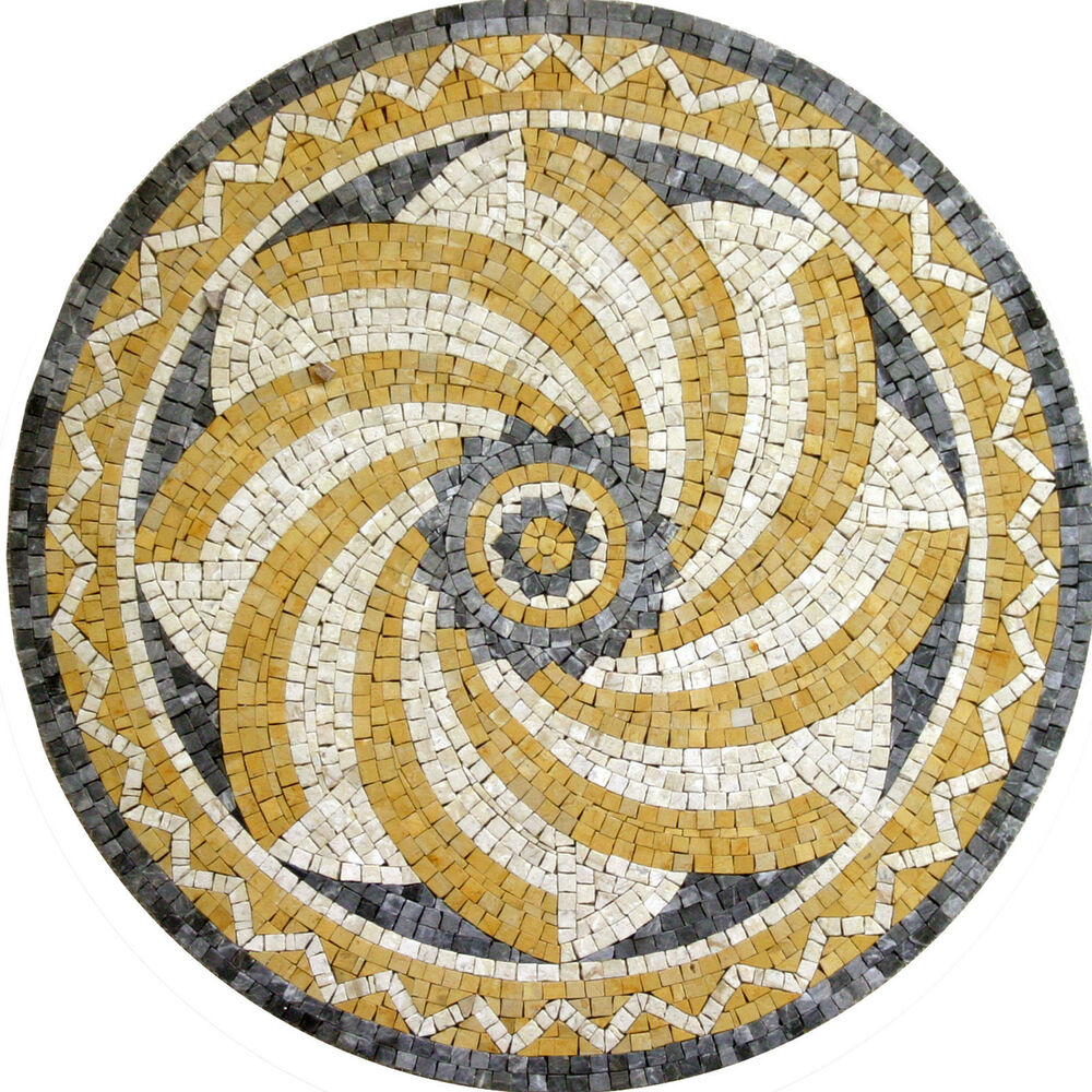 Wall floor art round medallion home decor marble mosaic for Mosaic home decor