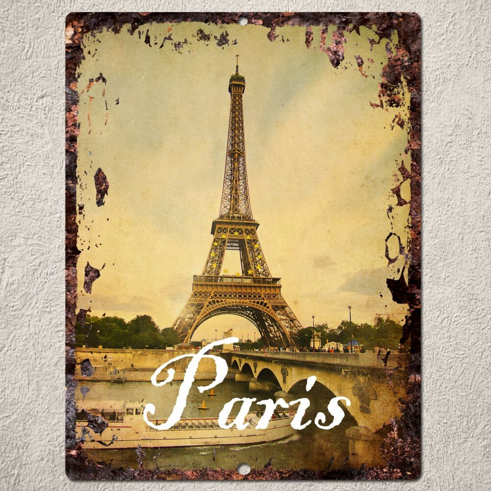 Paris Home Decor: PP0086 Vintage Paris Sign Rustic Parking Plate Home