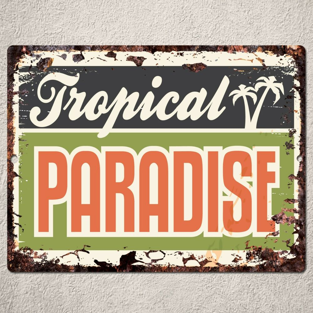 Pp rustic paradise parking plate sign bar cafe