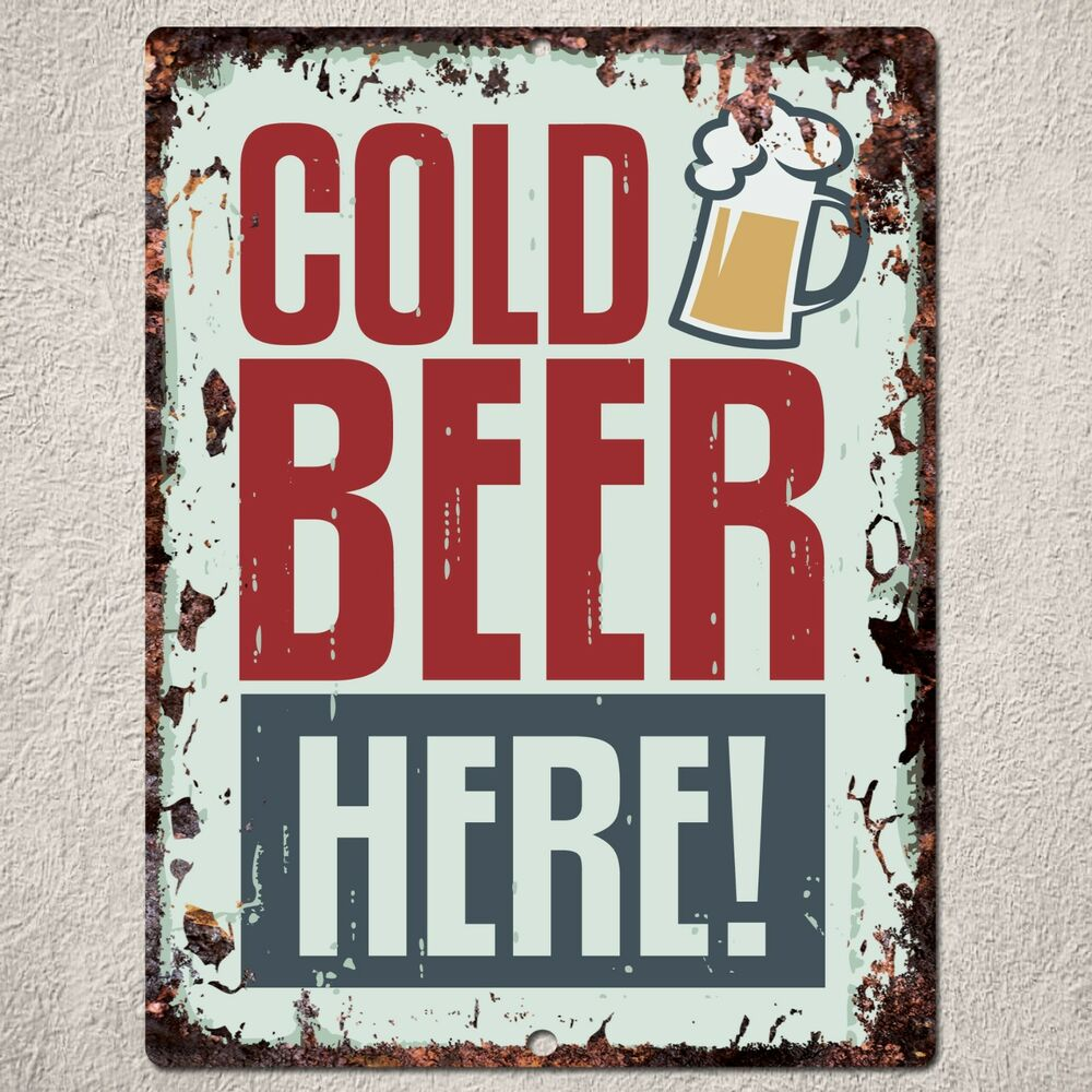 Pp rustic cold beer parking plate sign bar cafe