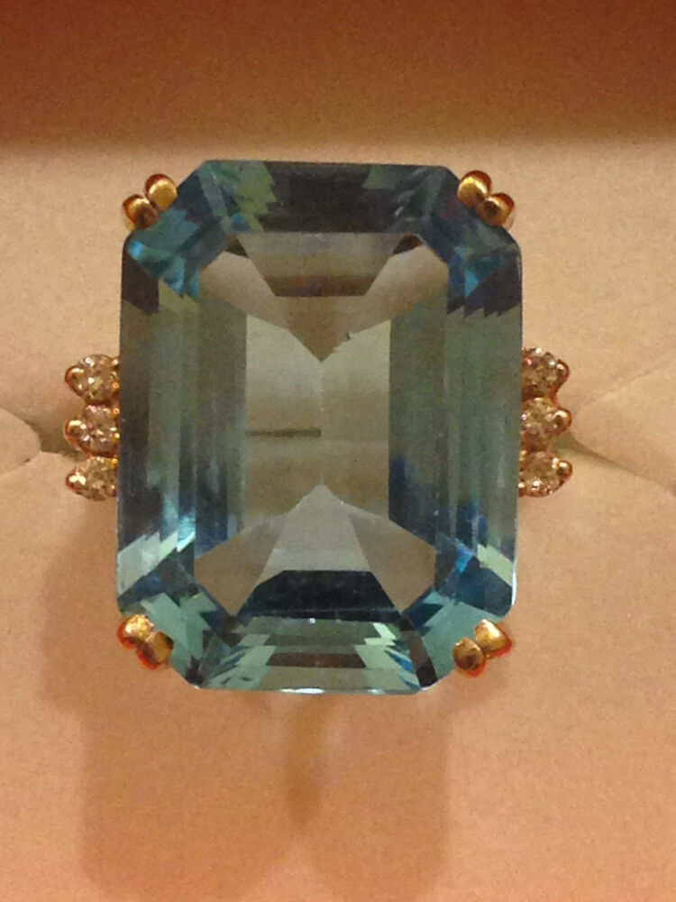 14kt Solid Gold Large Blue Topaz And Genuine Diamond