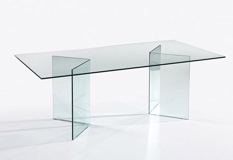 Form glass dining table ebay for Table 70 cm de large