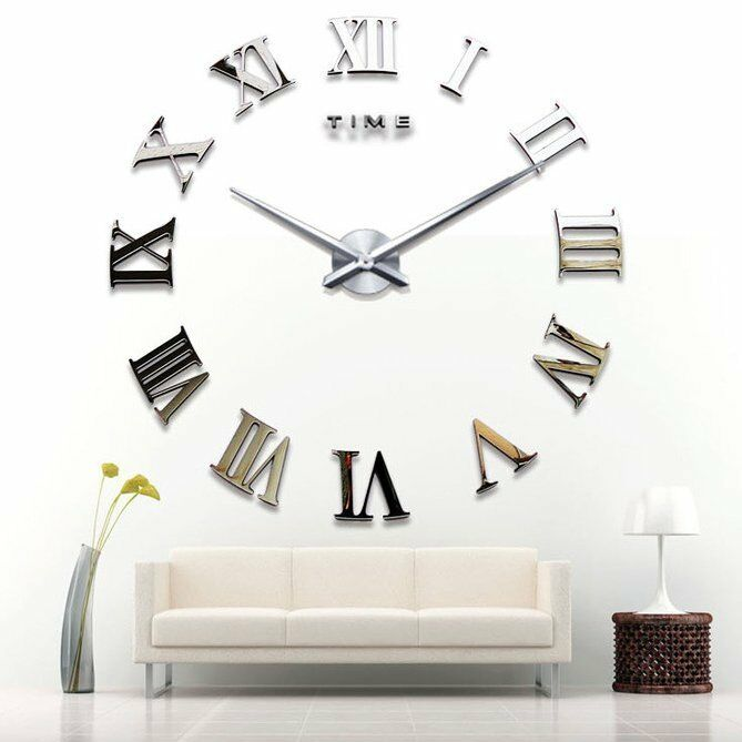 3d mirror luxury modern diy large wall clock surface sticker home office decor ebay. Black Bedroom Furniture Sets. Home Design Ideas