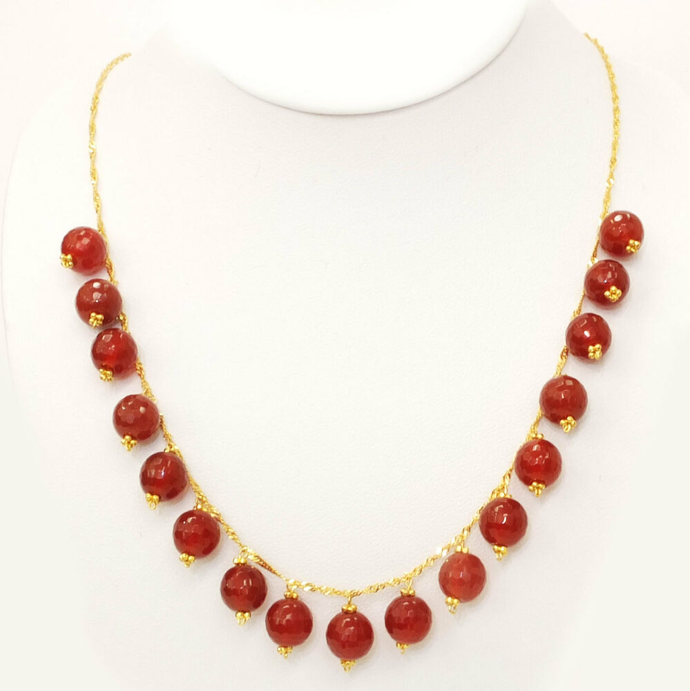 18k solid yellow gold carnelian singapore twist necklace for Sell gold jewelry seattle
