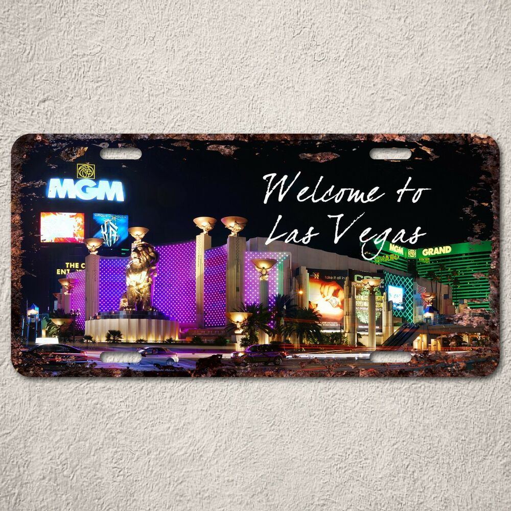 Lp315 welcome to las vegas sign rust vintage auto license for Ebay motors las vegas