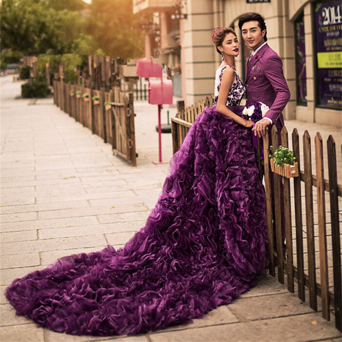 Purple long train wedding dress quinceanera formal prom for Ball gown wedding dresses with long trains