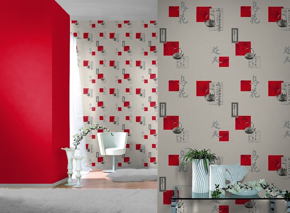 Chinese kitchen red silver quality designer vinyl feature for Kitchen wallpaper uk