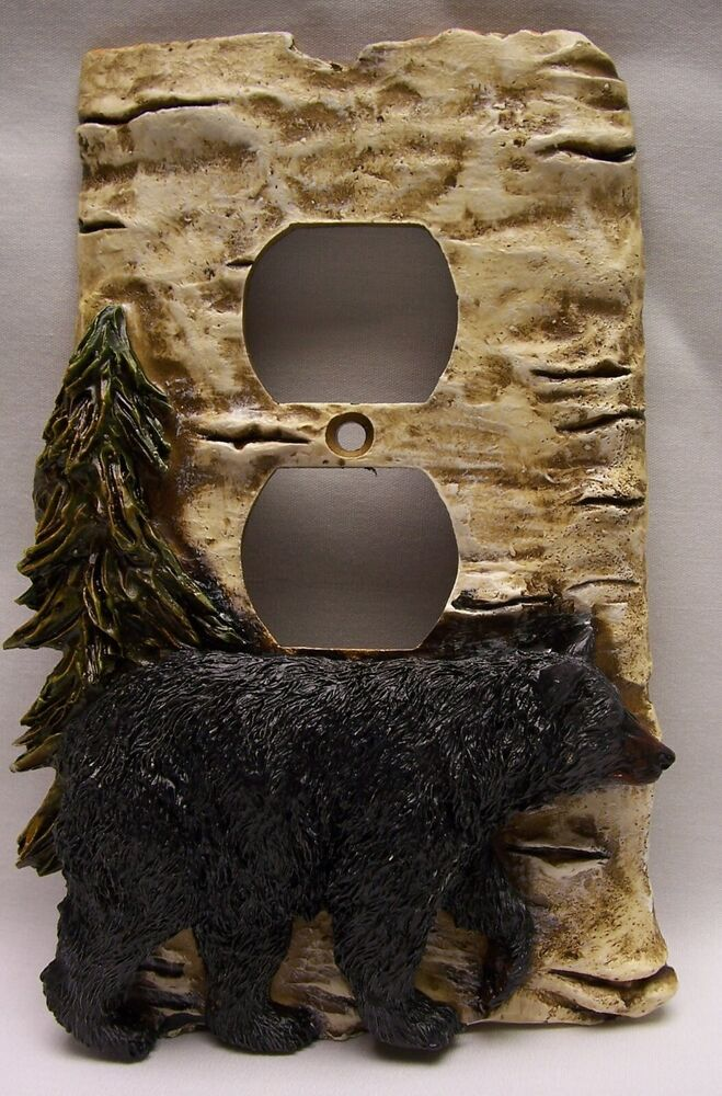 Black Bear Amp Birch Wood Look Outlet Plate Cover Rustic Cabin Home Nao Ebay