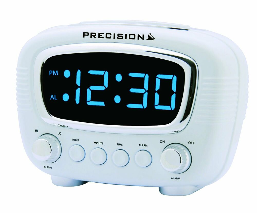 precision radio controlled led alarm clock blue display mains power prec0071 ebay. Black Bedroom Furniture Sets. Home Design Ideas