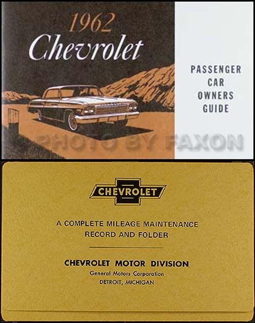 1962 Chevy Car Owners Manual With Envelope Biscayne Bel