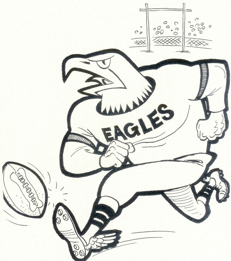 Philadelphia Eagles 8x10 Team Photo Card Mascot Vintage Afl Colouring In Pages