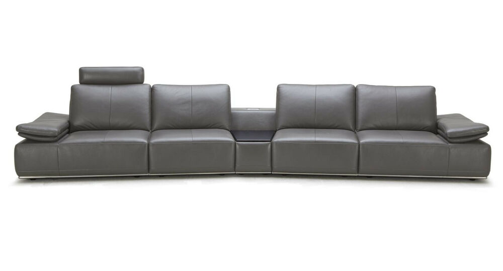Hibiscus modern grey italian leather large sectional sofa for Sectional sofas free shipping