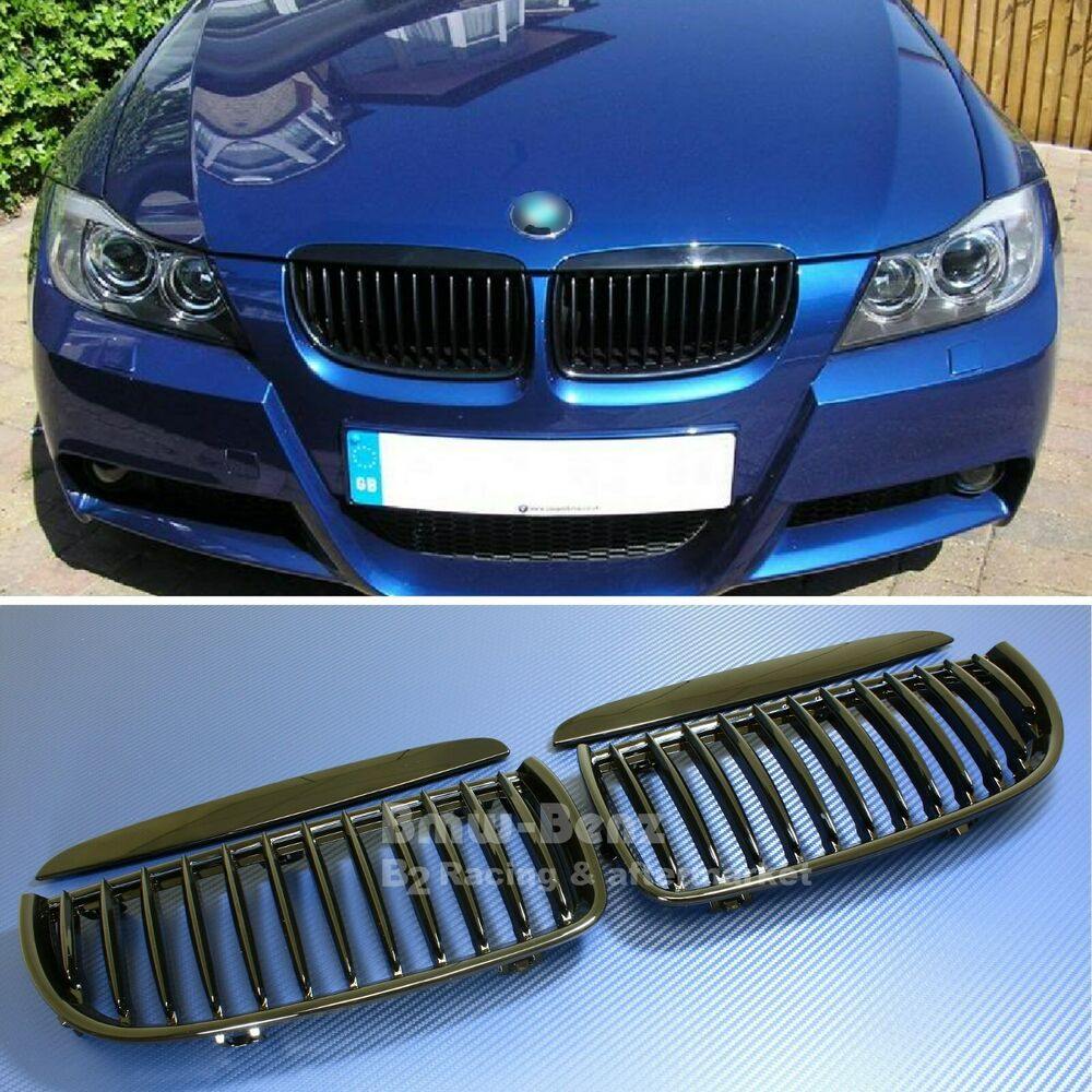 Bmw Grills: 2005-2008 BMW E90 3-SERIES Front Kidney Grille Gloss Black