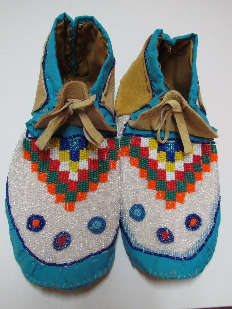 Native american handmade beaded moccasins 10 1 2 inches ebay