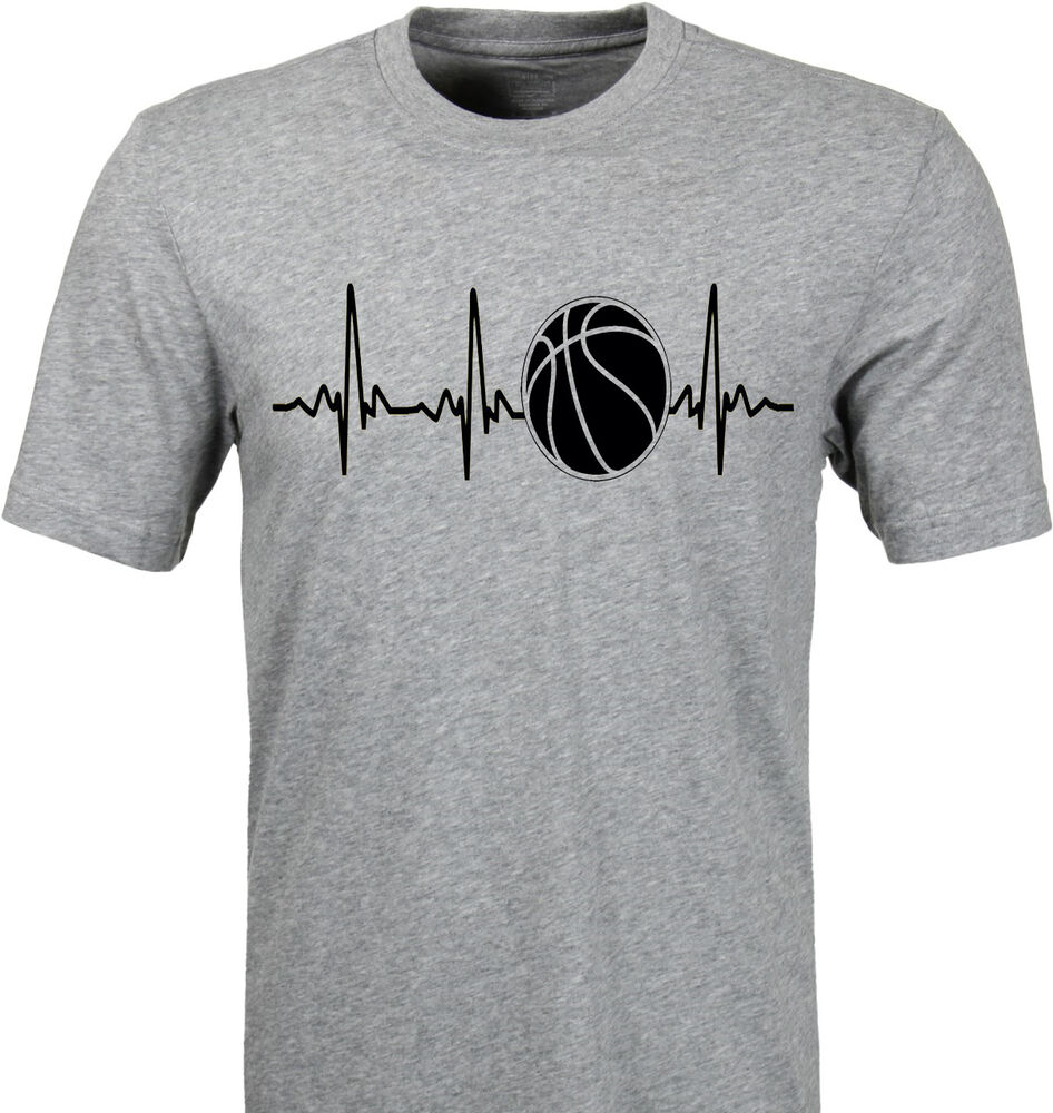 pulse heartbeat basketball t shirt mom dad player any colors customize new ebay. Black Bedroom Furniture Sets. Home Design Ideas