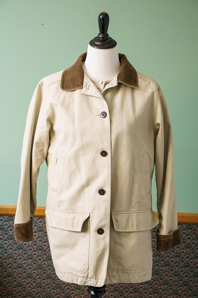 Barn Coat Khaki LL Bean Beige Corduroy Collar Womens Lined ...
