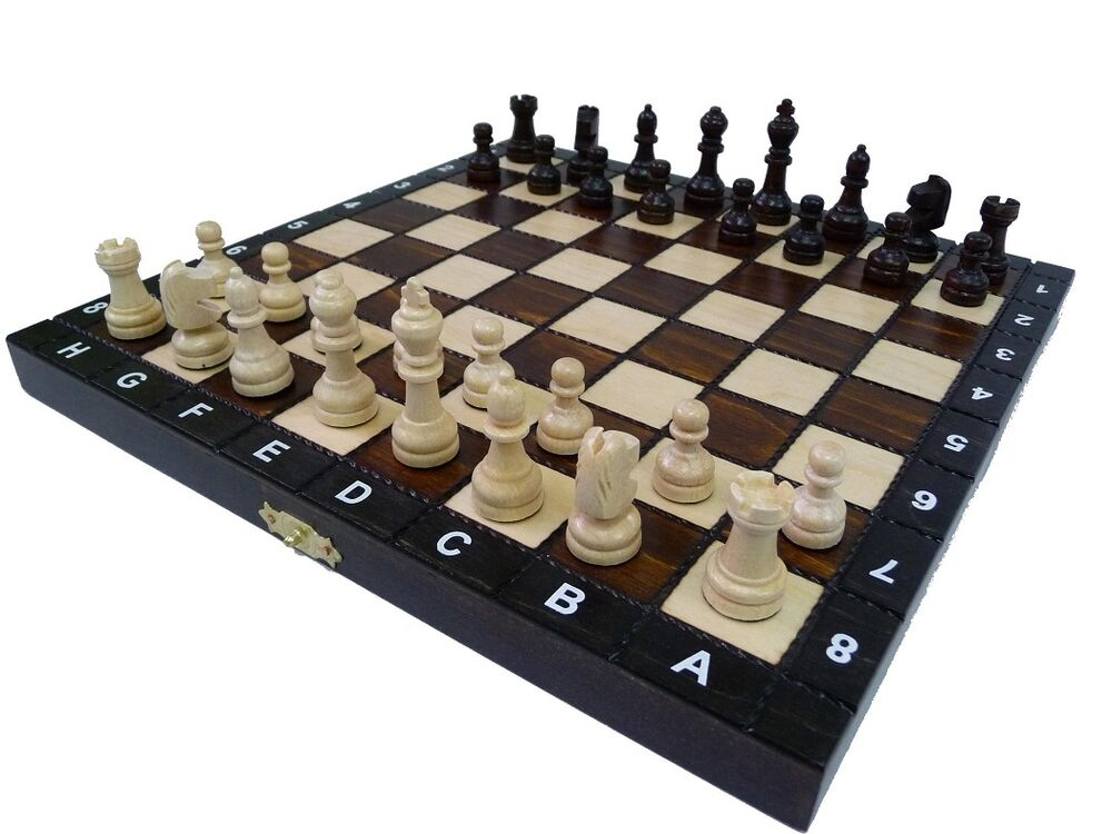 10 5 european school chess set ornate folding board for Hand crafted chess set