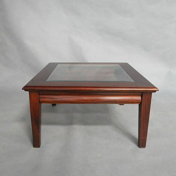 Solid Mahogany Wood Square Coffee Table With Drawer