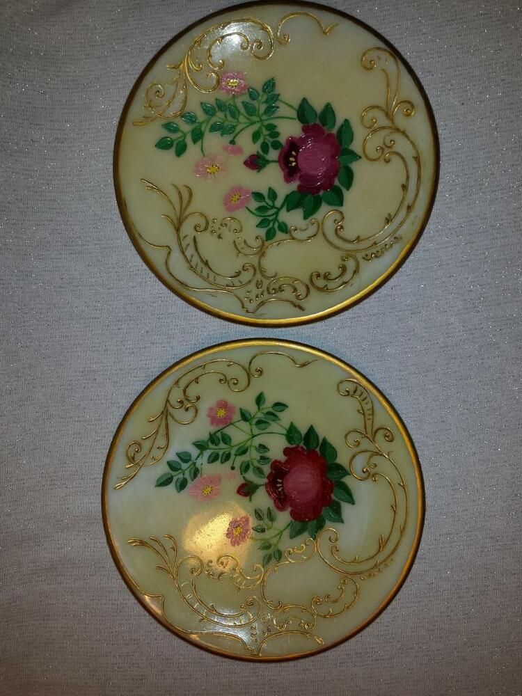 Vintage Hand Painted Plates Light Covers Homemade Flowers