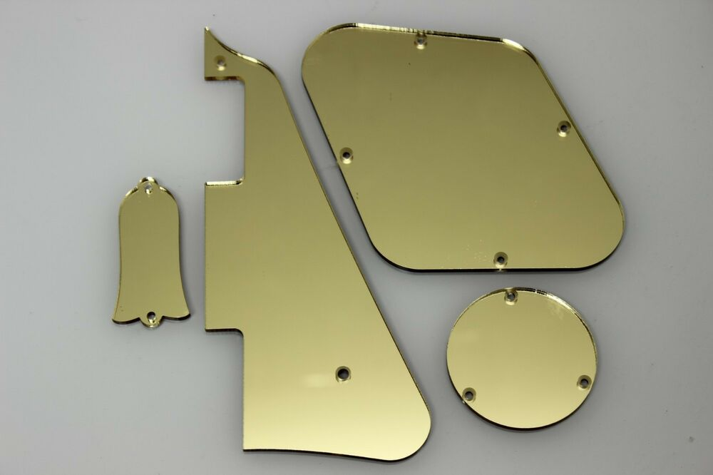 gold mirror pickguard covers truss rod cover set fits gibson les paul ebay. Black Bedroom Furniture Sets. Home Design Ideas