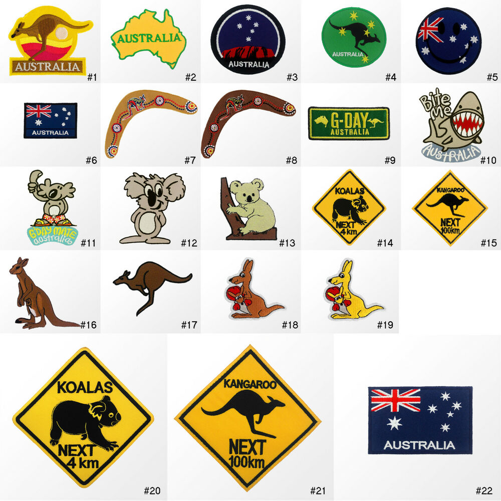 R australia country flag travel animal embroidered