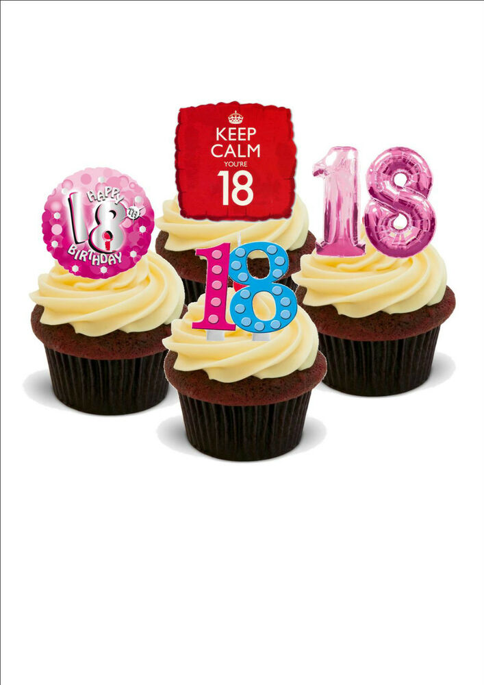 Edible Cake Decorations For 18th Birthday : NOVELTY 18TH BIRTHDAY MIX PINK 12 STAND UP Edible Cake ...