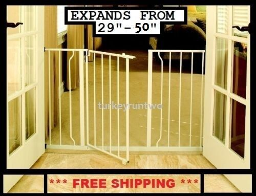 Baby Safety Gate W Door 50 Quot Wide Metal Expandable Walk