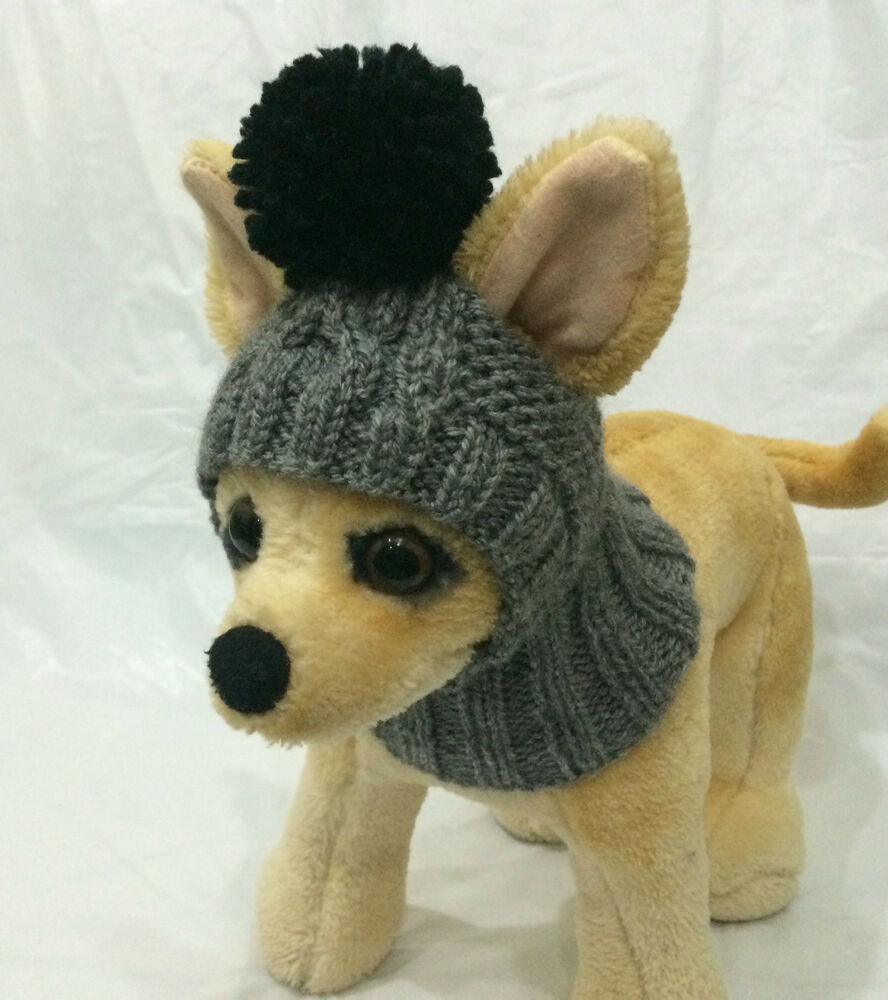 Knitting Pattern For Small Dog Hat : Pet Clothes Apparel Outfit Handmade Knit Hoody Snow Hat for Small Dog eBay