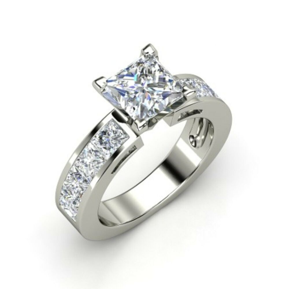 196 ct princess cut solitaire engagement ring solid
