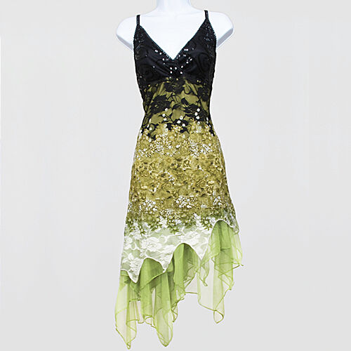 New 1920s gatsby vintage flapper lace sequin black green ...