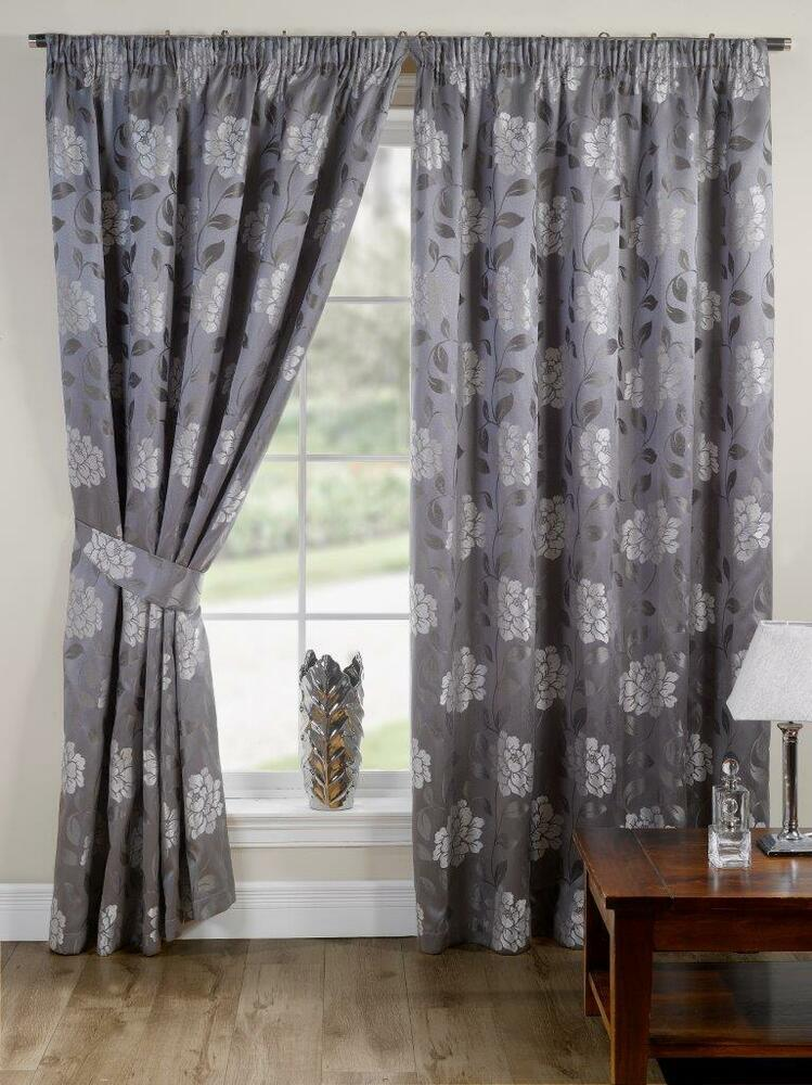 silver floral pencil pleat tape top fully lined ready made. Black Bedroom Furniture Sets. Home Design Ideas