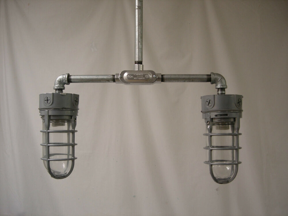 Industrial Ceiling Lamp Explosion Proof Cage Mid Century