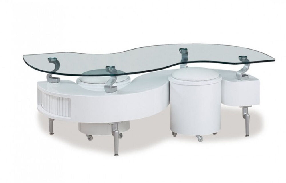 Glass Top Storage Coffee Table And Ottomans In White Color Modern