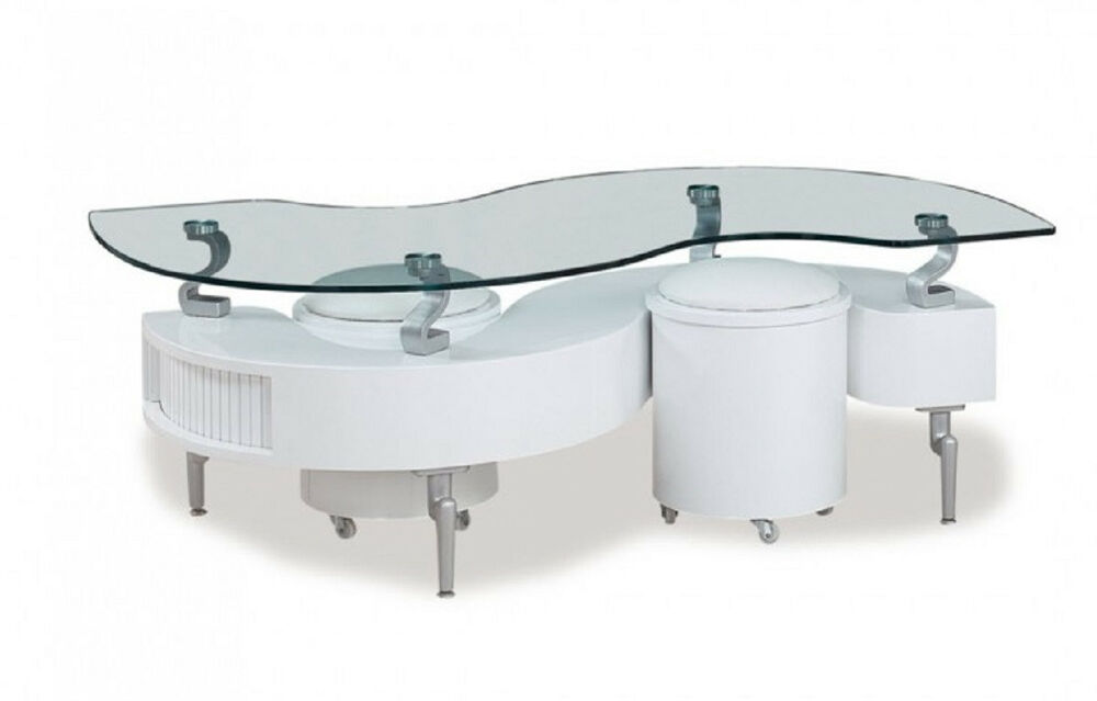 Glass Top Storage Coffee Table And Ottomans In White Color Modern And Unique Ebay