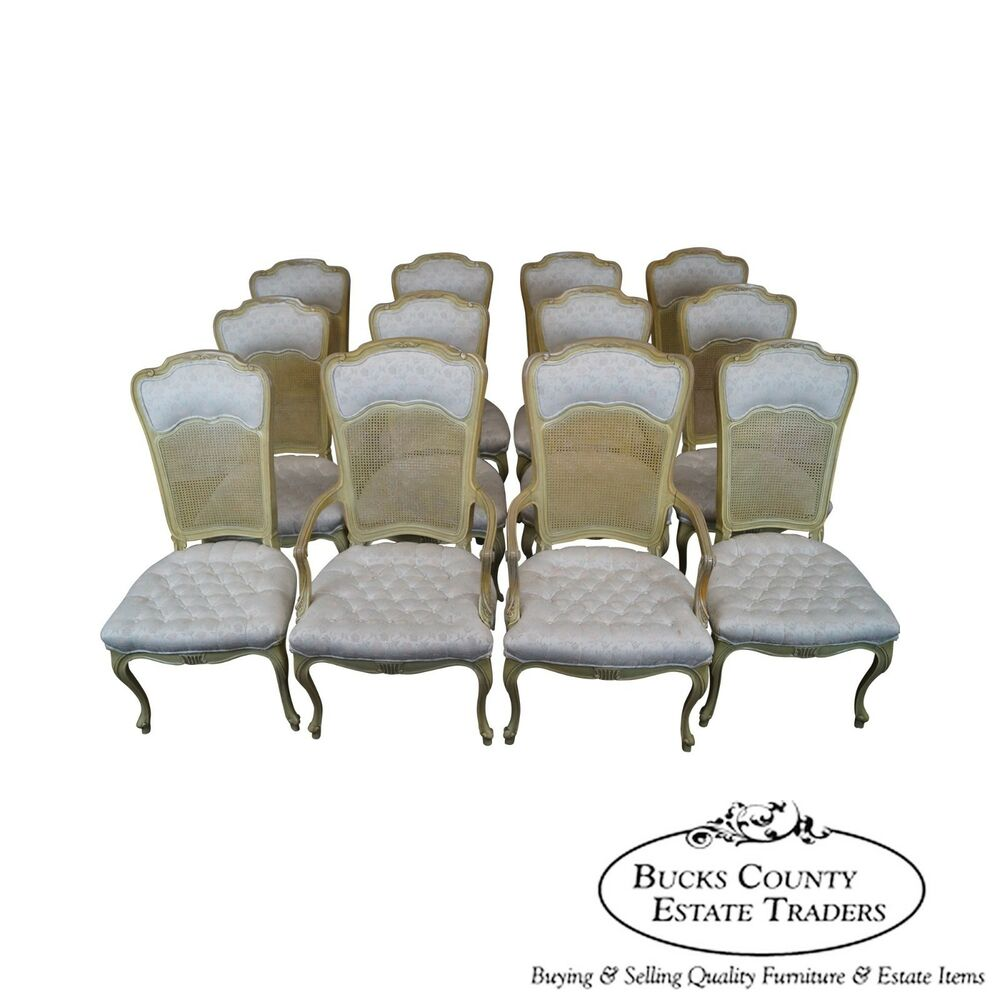 Vintage French Louis Xv Style Set Of 12 Painted Cane Back Dining Chairs Ebay