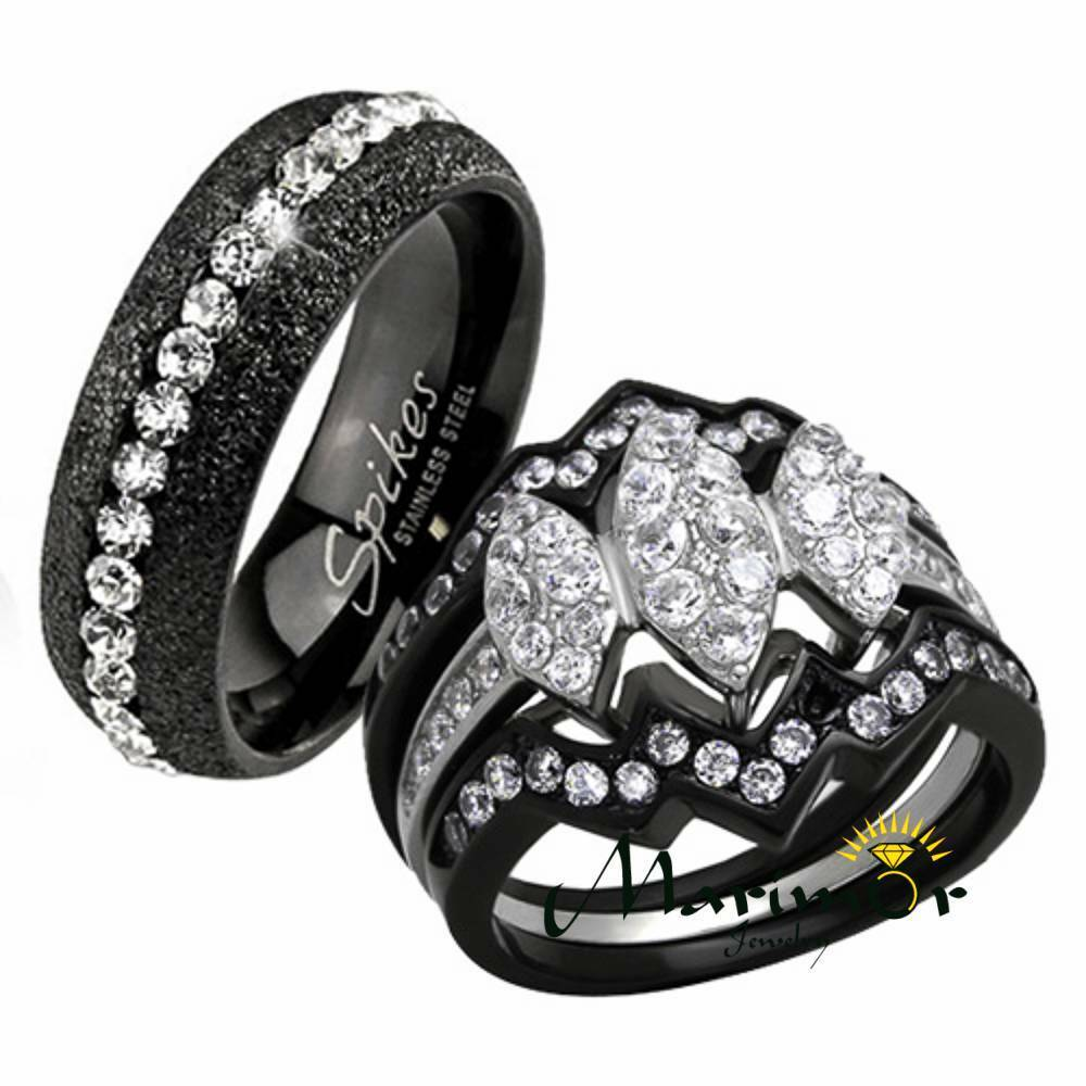 black wedding rings for her hers his 4 pc black ion plated stainless steel wedding 1882