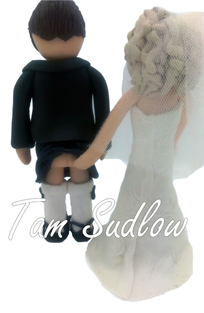 wedding cake toppers kilt scottish wedding cake topper groom wearing kilt showing 8831