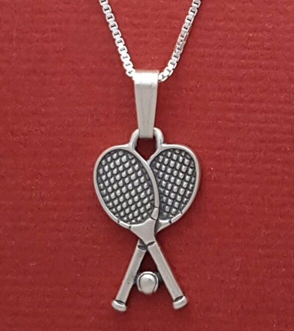 tennis racquets necklace solid sterling silver 925 rackets