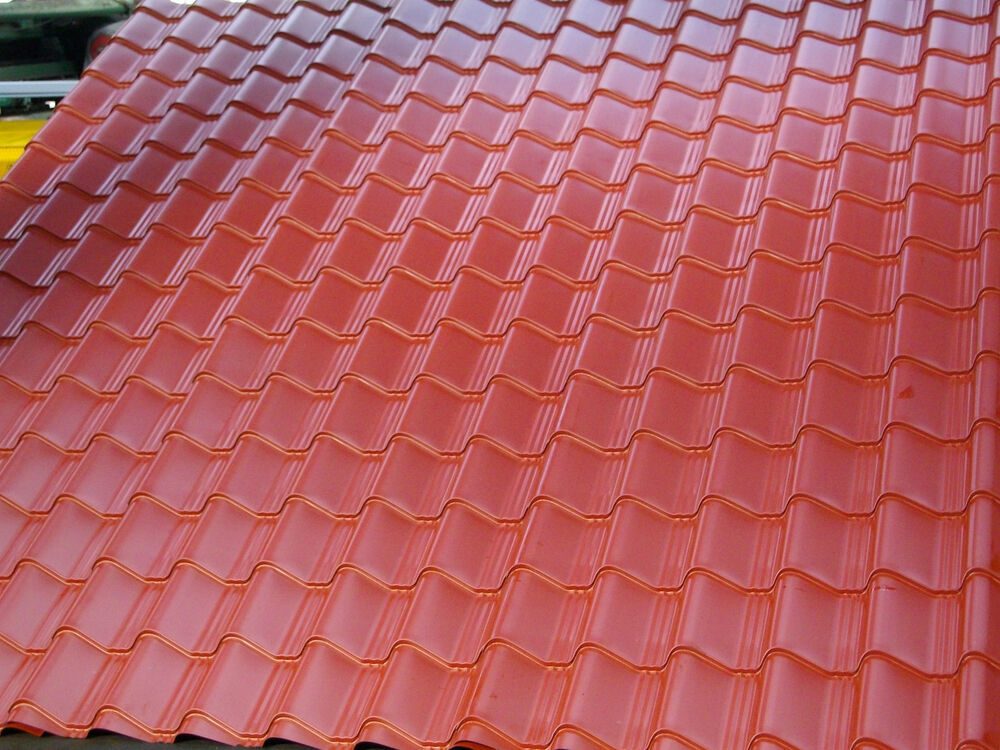 Tile Effect Roofing Sheets Terracotta Plastic Coated 0 7mm