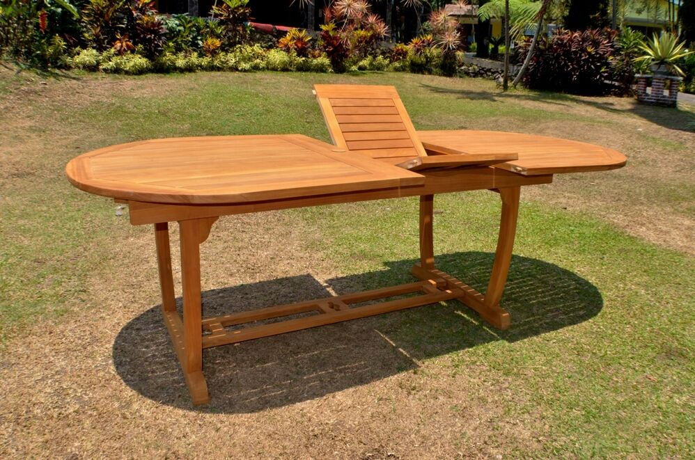 117 Oval Table Trestle Leg Teak Wood Garden Outdoor Dining Furniture Po