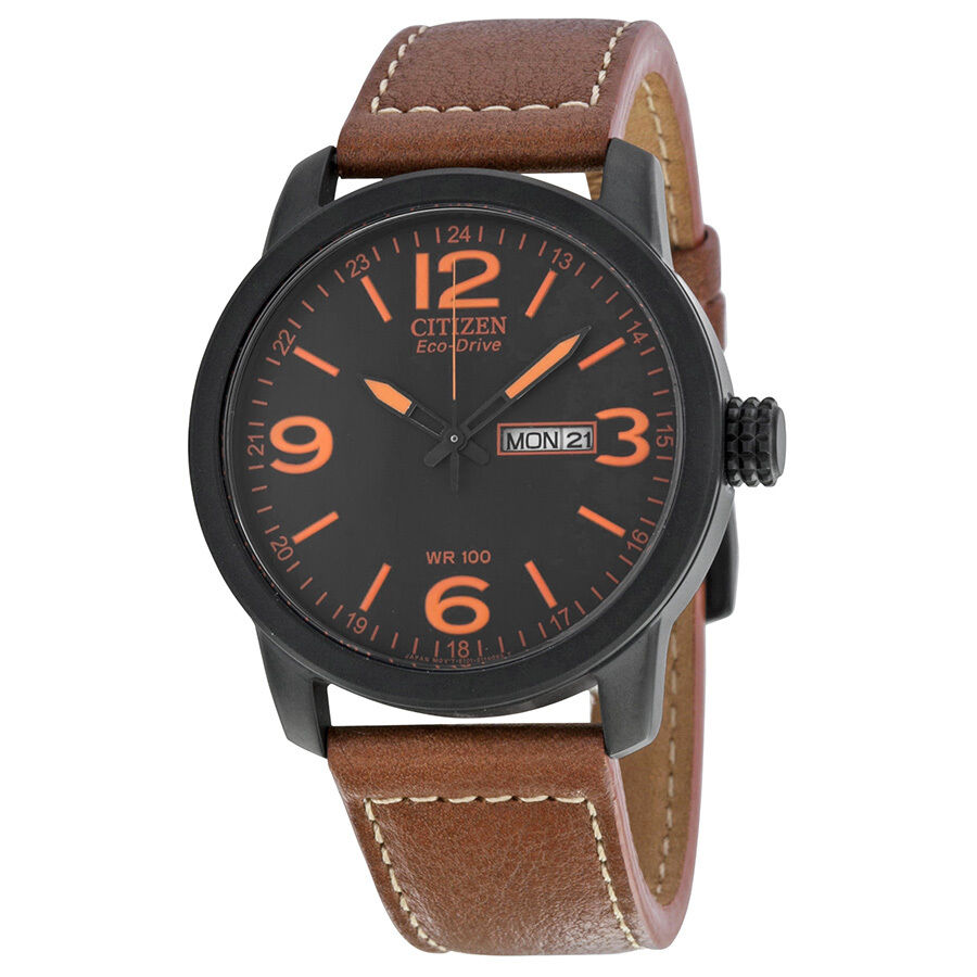 Citizen eco drive brown leather mens watch bm8475 26e ebay for Watches on ebay